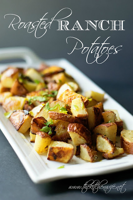 Ranch potatoes on a white platter with the title text at the top.