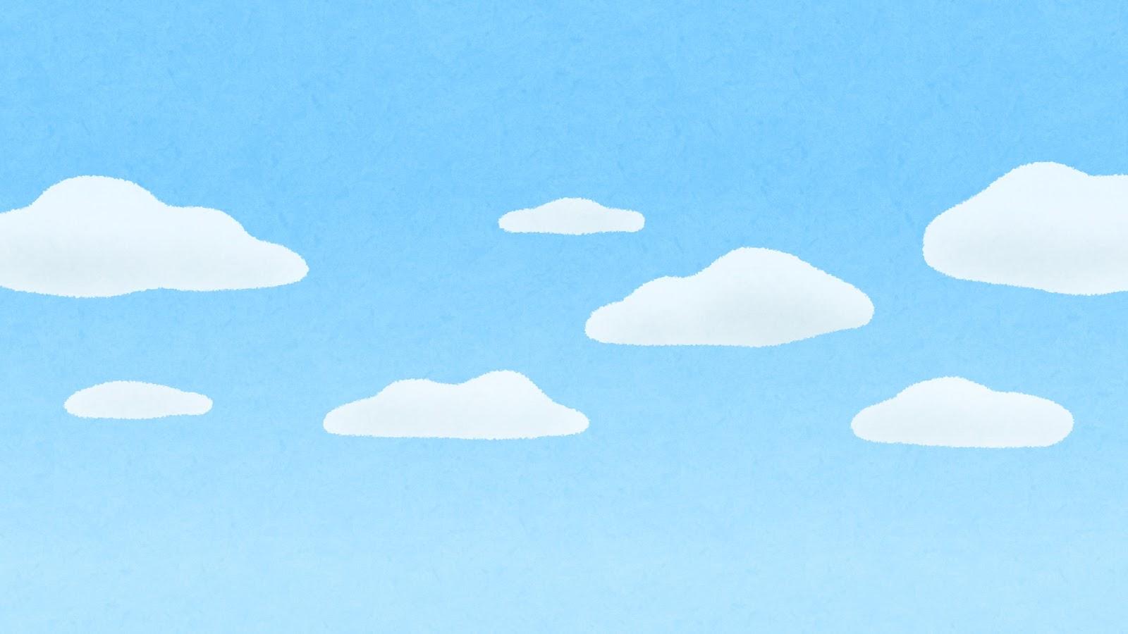 雲が浮かぶ青空のイラスト(背景素材) | かわいいフリー素材集 いらすとや