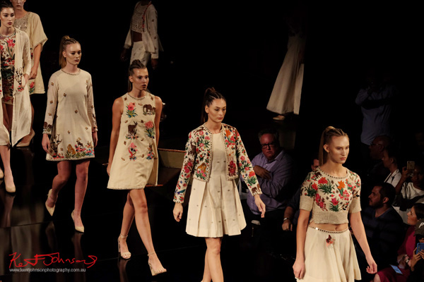 Models together; Purvi Doshi shows at New York Fashion Week with Art Hearts Fashion. Photography by Kent Johnson for Street Fashion Sydney.