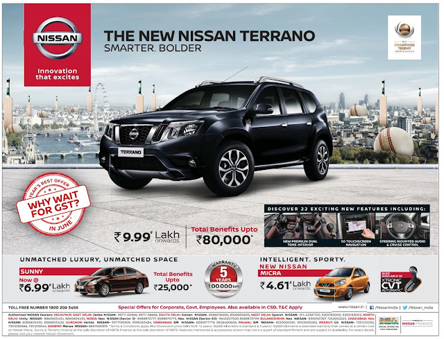 Nissan Sunny & Terrano cars never  before offers | June 2017 discounts & benefits