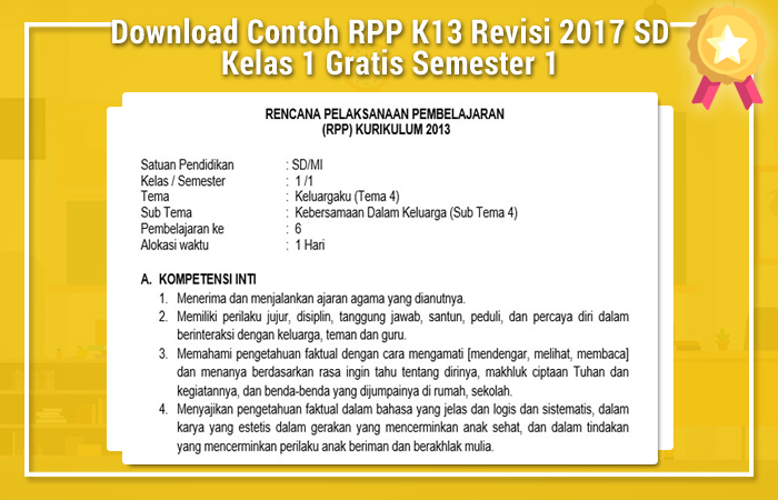Download Contoh RPP K13 Revisi 2017 SD Kelas 1 Gratis