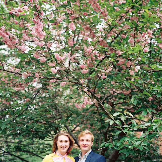 Liz's pink scarf is perfectly complemented by cherry blossoms in Greenwich Village Engagement Portraits