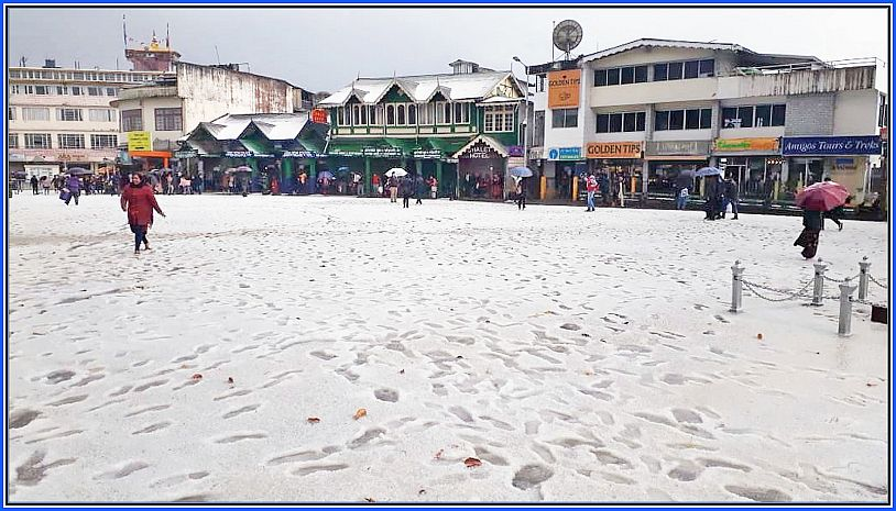 Darjeeling Chowrasta covered with Hailstones