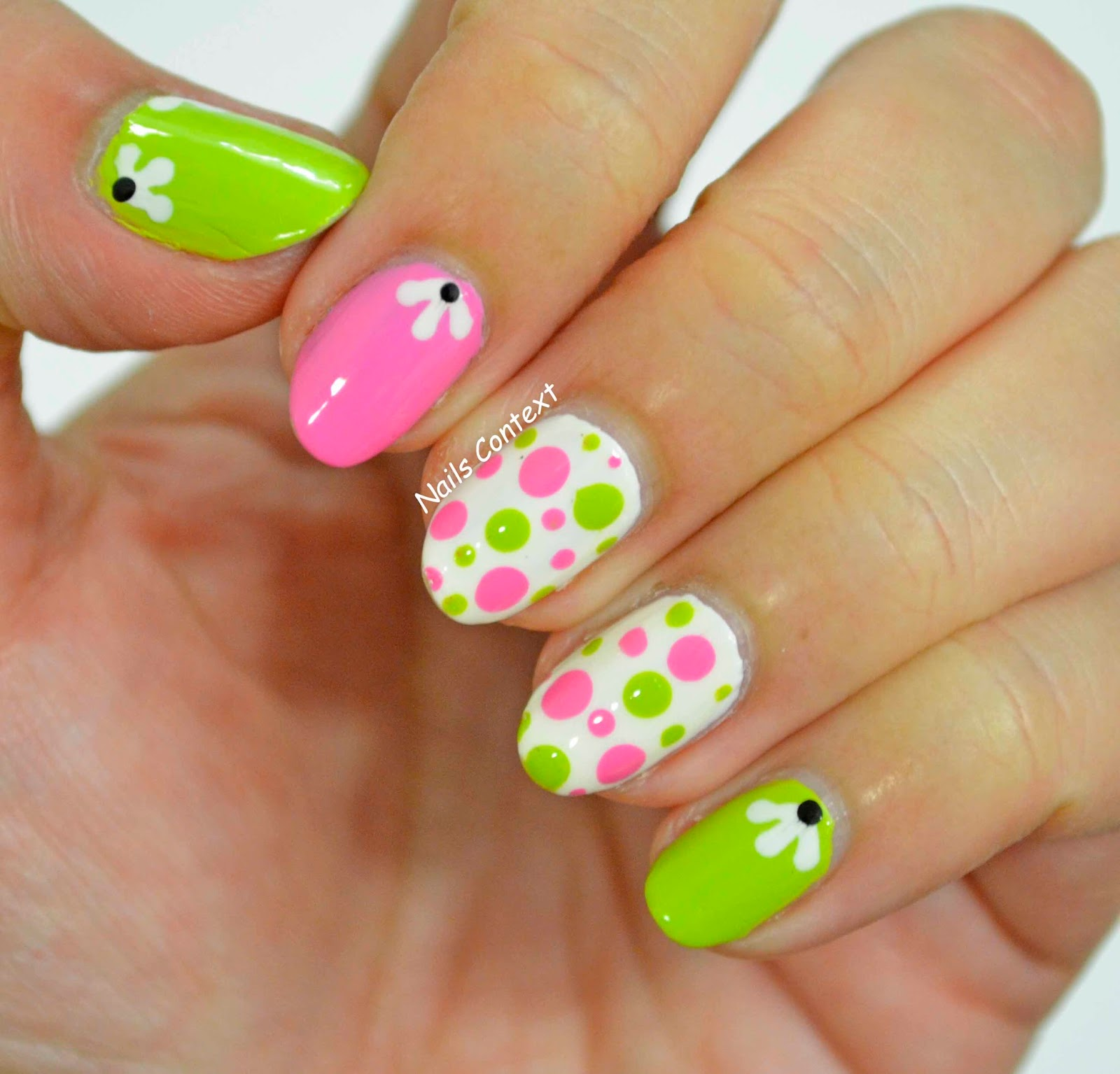 Nails Context: Pink and Green