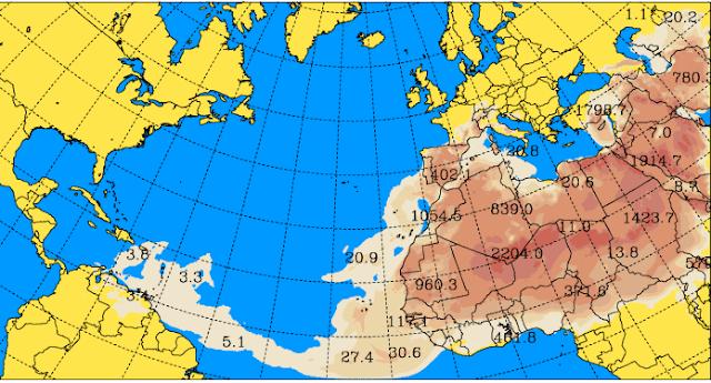 La calima cubre la Península y Portugal 22 febrero