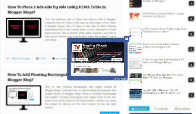 """Add Advanced Popup """"Facebook Page Plugin Pro"""" to Blogger Blogs"""