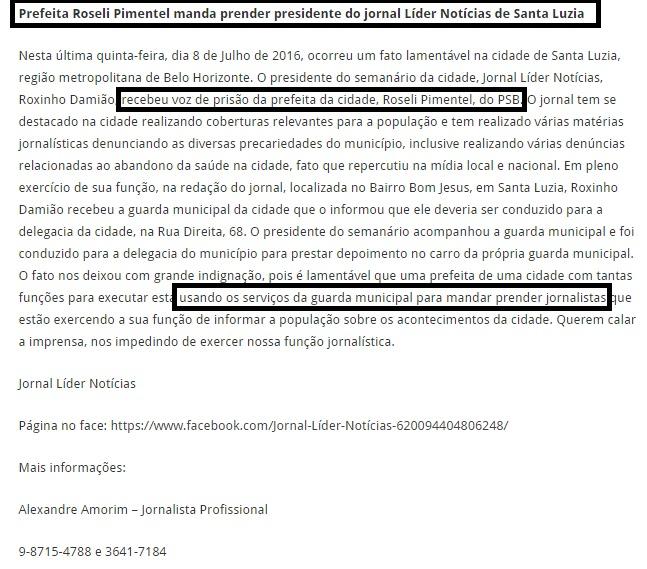 Empresário se faz de vítima, culpa prefeitura, desmente a policia e divulga versão em blog de sindicato de Jornalistas