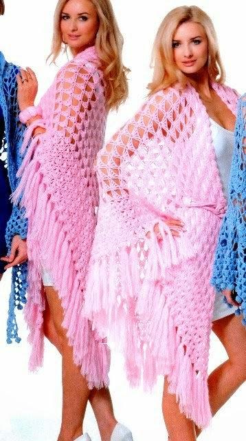 Chal triangular tejido con crochet