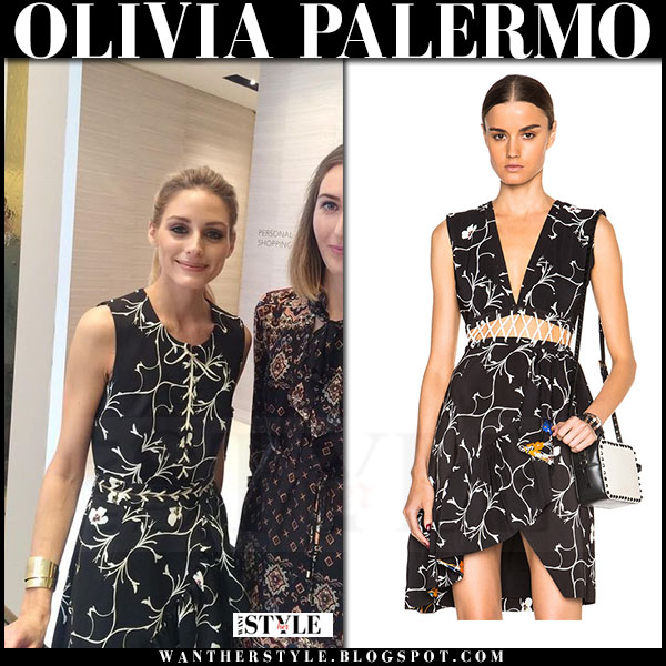 Olivia Palermo in black blossom floral print Preen dress what she wore chic style