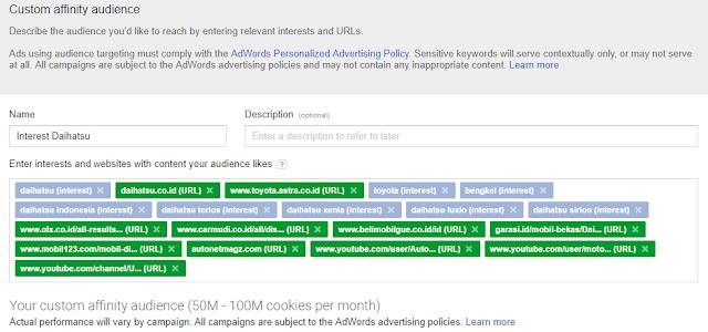 custom affinity audiens google adwords