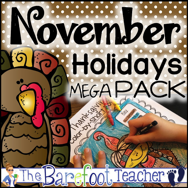 Get ready for November with this mega pack of activities for kids that includes holiday math and literacy printables for Thanksgiving, Veterans Day, and more! A perfect addition to the other crafts and ideas you have planned for your preschool, kindergarten, or first grade students! #thanksgiving #veteransday #thanksgivingactivities #kindergarten #preschool #firstgrade #holidays #math #literacy