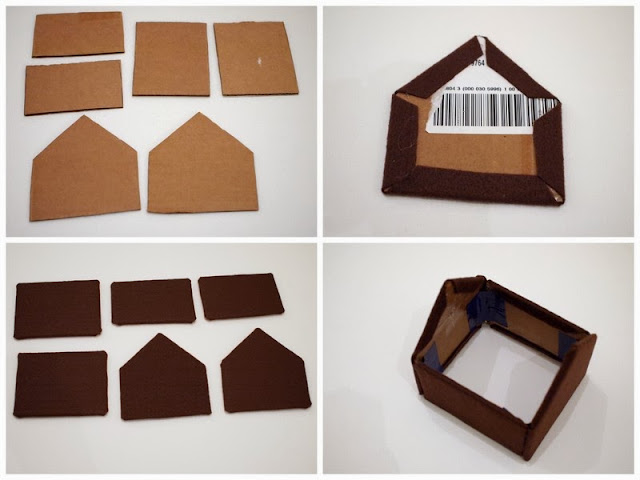 steps to make Christmas Felt and Cardboard Gingerbread Houses