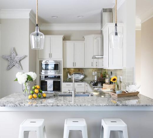 Small White Coastal Kitchen Design Idea