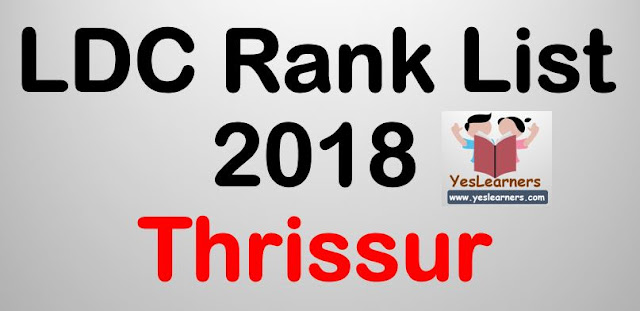 LDC Rank List 2018 - Thrissur