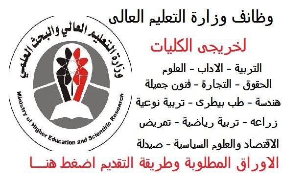 وظائف وزارة التعليم العالى لحديثى التخرج لكليات الاداب والتجارة والتربية والطب والعلوم والحقوق والاقتصاد والصيدلة - للتقديم اضط هنا