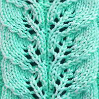 Twin Leaf in the round. The lace stitch pattern would be a great choice for warm cowls, sweaters, and mittens!