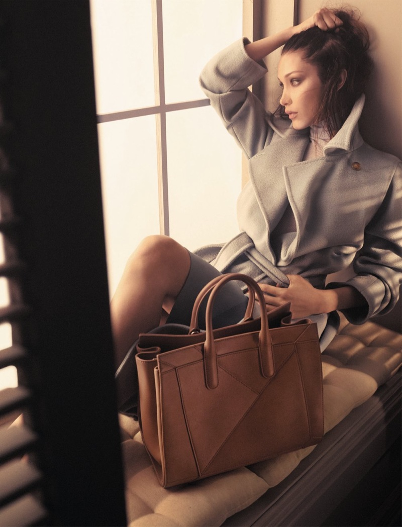 Bella Hadid poses for the Max Mara Accessories Fall/Winter 2017 Campaign