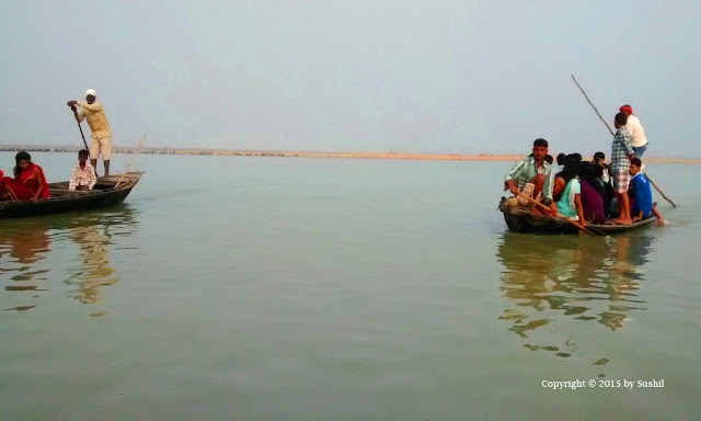 Enjoying Boating in the Sone River during Chhath Puja, Dehri on Sone, Bihar