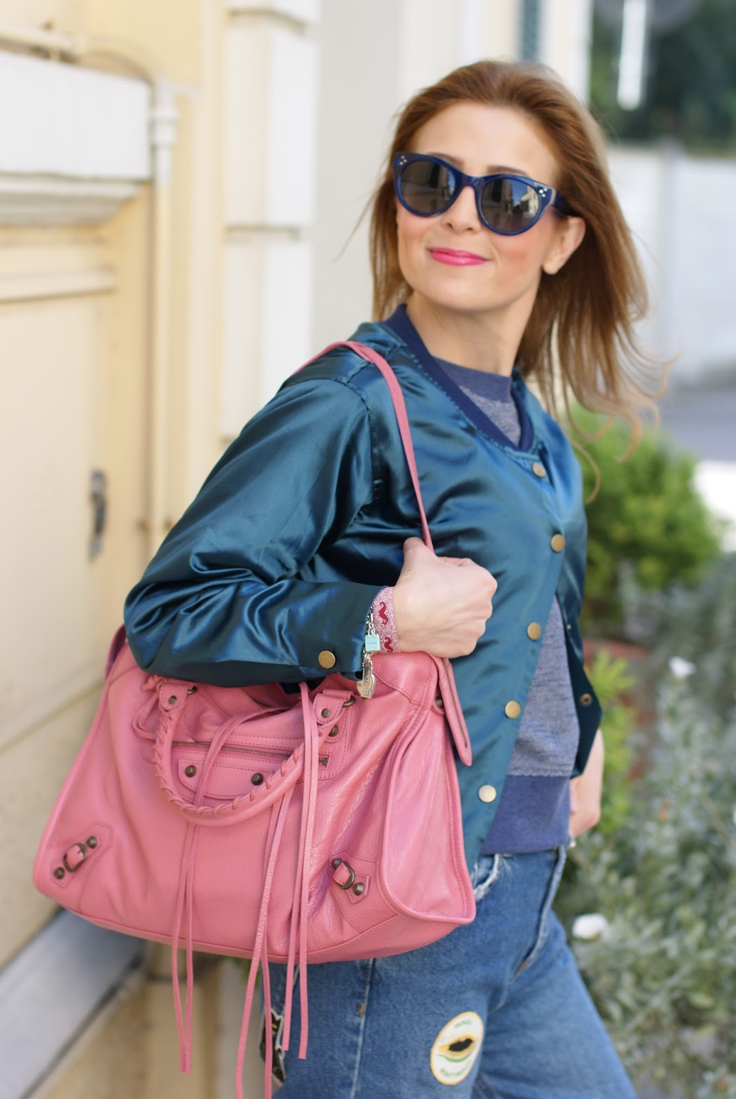 Choies Satin bomber, Balenciaga bag on Fashion and Cookies fashion blog, fashion blogger style