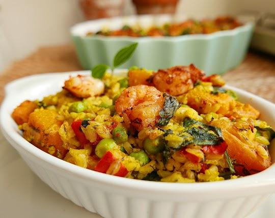 Zapiekanka z ryżu, szpinaku i dyni