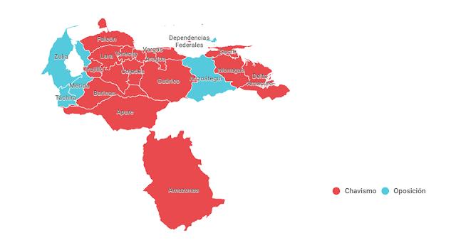 Resultados elecciones Venezuela: el chavismo arrasa en 17 de las 23 gobernaciones