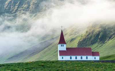 The red and white wooden church in Vik, built in 1929