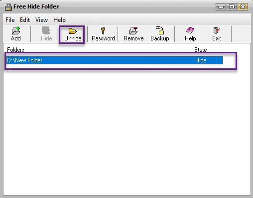 استخدام Free Hide Folder