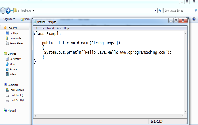 simple program of java