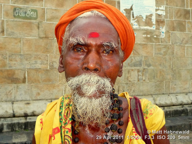 Facing the World, © Matt Hahnewald, street portrait, people, South India, headshot, Hindu man, beard, Dravidian people, Chidambaram, old sadhu