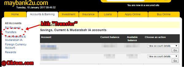 kaedah transfer duit melalui maybank2u