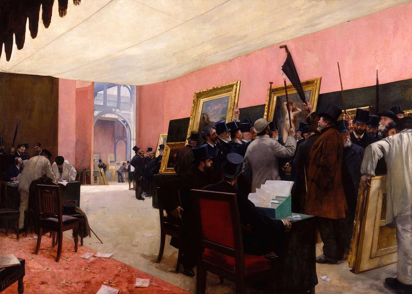 Peinture fran aise du 19 me si cle une se ance du jury de peinture ca 1883 for Peinture du salon