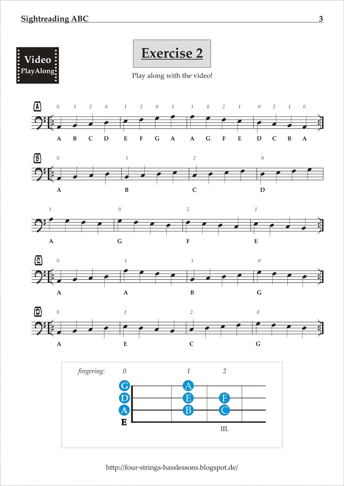 four strings basslessons weekly basslines 179 sightreading exercises. Black Bedroom Furniture Sets. Home Design Ideas