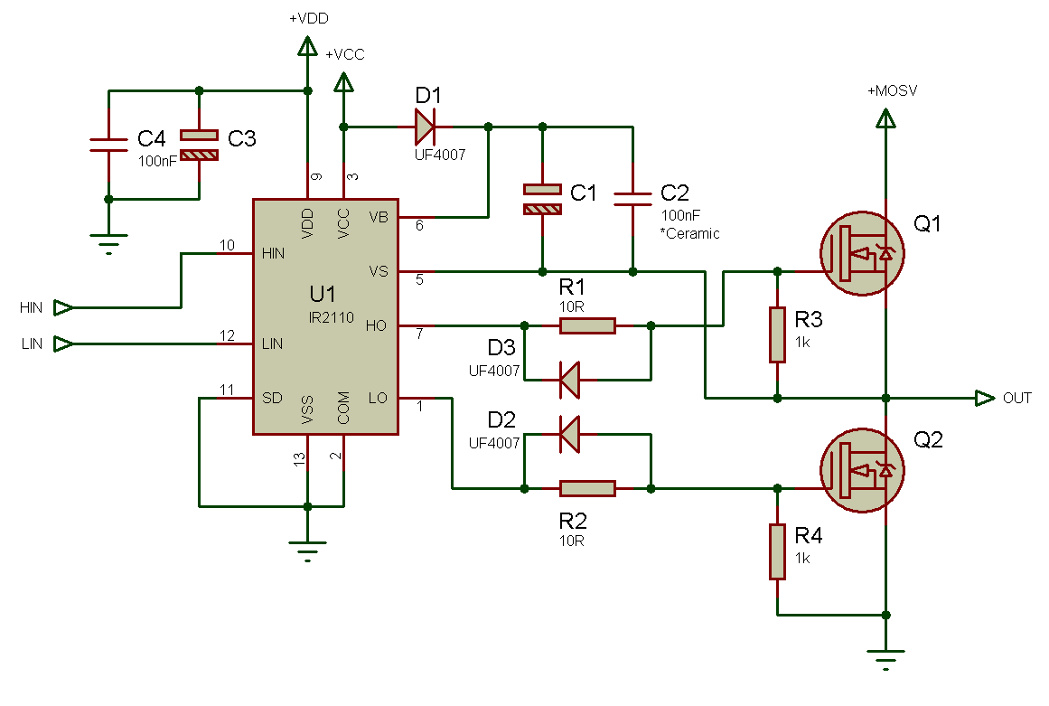 Tahmids Blog Using The High Low Side Driver Ir2110 Explanation Pwm Control Speed Motor 12v By Tl494 Now Lets Take A Look At Common Configuration For Driving Mosfets In Both And Configurations Half Bridge Stage