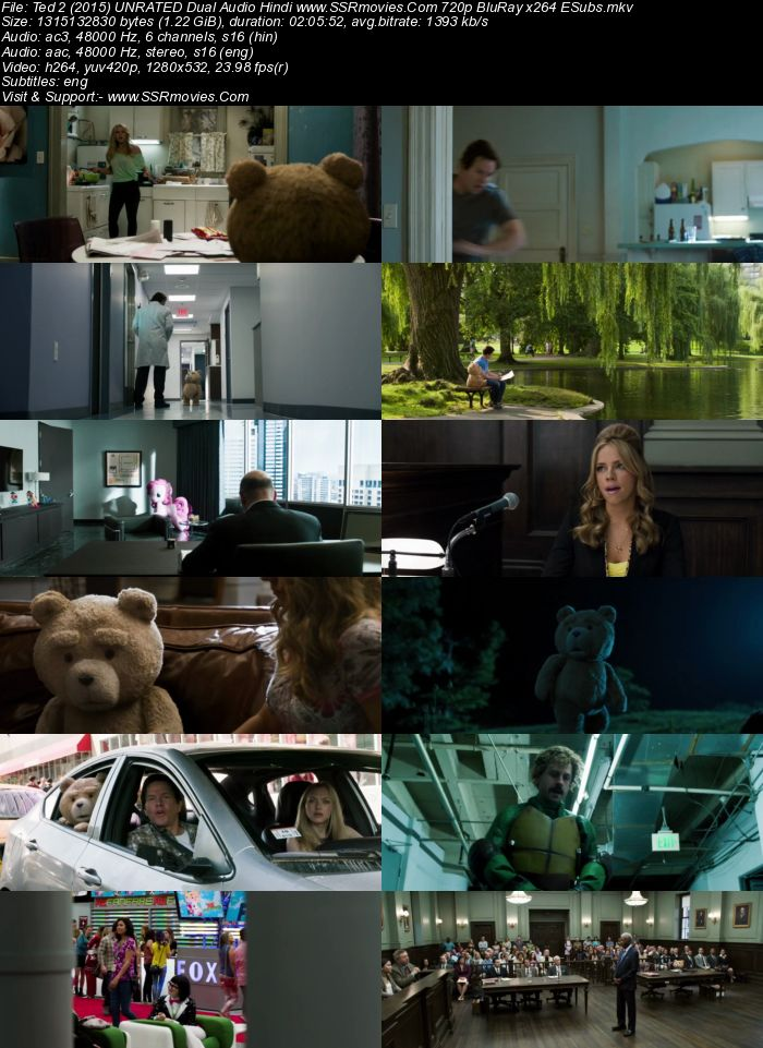 Ted 2 (2015) UNRATED Dual Audio Hindi 720p BluRay x264 1.2GB ESubs Movie Download