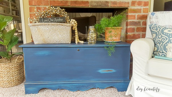 antiqued chest with DIY paint and glaze