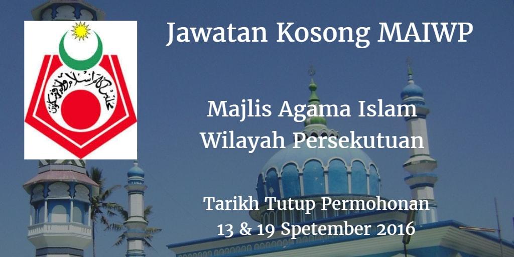 Jawatan Kosong MAIWP 13 & 19 September 2016