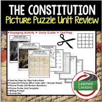 Constitution, Civics Test Prep, Civics Test Review, Civics Study Guide, Civics Interactive Notebook Inserts, Civics Picture Puzzles