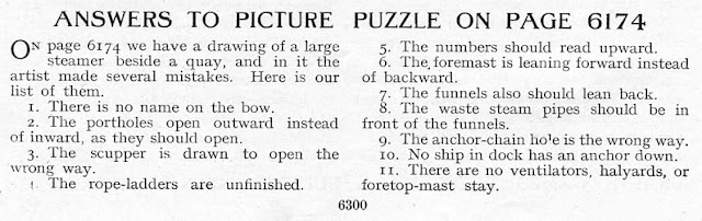 Answers to picture puzzle from Arthur Mee's Children's Encyclopedia