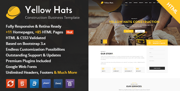Yellow Hats HTML Theme