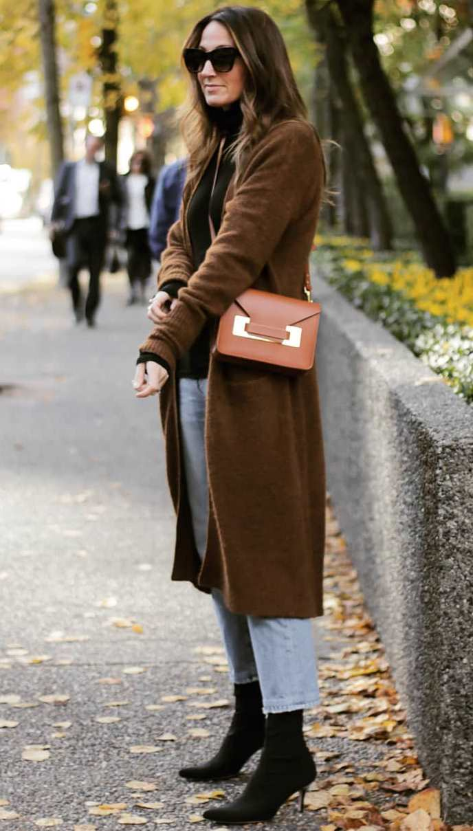 fashionable fall outfit idea with a brown coat + bag + jeans + heels + black sweater