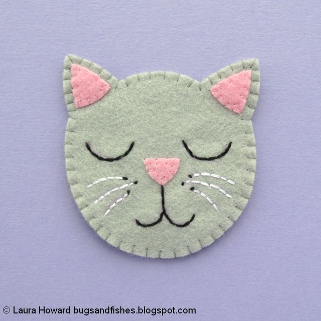 finished felt cat face