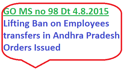GO MS No 98 Employees Transfers in Andhra Pradesh Lifting ban on transfers in ap