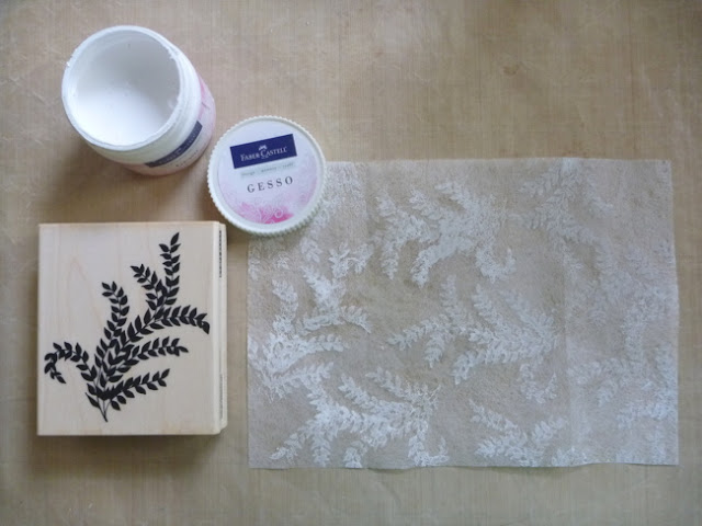 Gesso Stamped Dryer Sheet by Dana Tatar