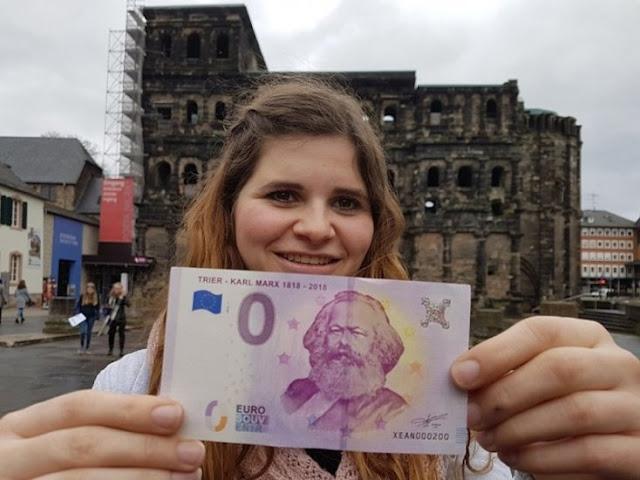 Para o 200º aniversário de Karl Marx, foram lançadas notas de 5 euros