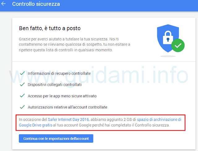 Controllo sicurezza account Google in regalo 2 GB Drive