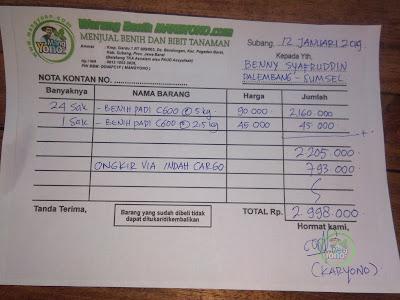 NOTA PEMBELIAN   BENNY SYAFRUDDIN Palembang, Sumsel.  Setelah Diskon.