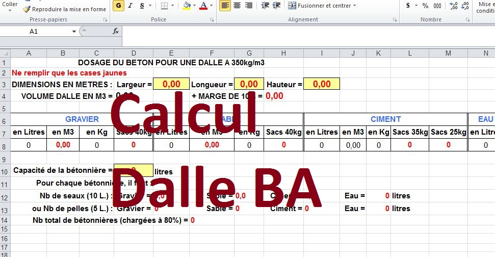 calcul dalle b ton arm excel cours g nie civil outils livres exercices et vid os. Black Bedroom Furniture Sets. Home Design Ideas