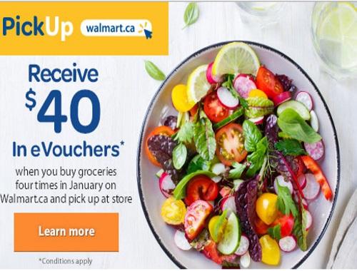 Walmart PickUp $40 Free eVouchers