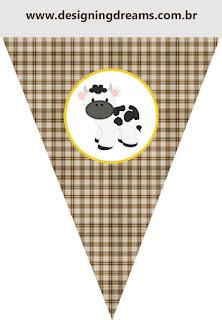 Banderines para Imprimir Gratis de Vaquitas.