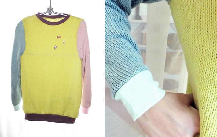 pastellfarbener Strickpullover mit Jersey buendchen - Doppelbild